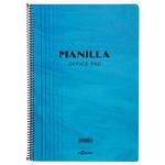 Le Color Manilla Yumuşak Mavi Kapaklı Spiralli Kareli Defter 17 cm x 24 cm 90 Yaprak