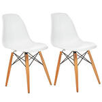 Seduna Eames Natural Ahşap Ayaklı 2 Adet Sandalye Beyaz