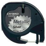 Dymo Letratag Metalik Etiket 12 mm x 4 m Gümüş