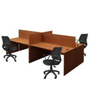Avansas Comfort Dörtlü Workstation Çalışma Masa Grubu Teak (Masa+Çalışma Koltuğu)