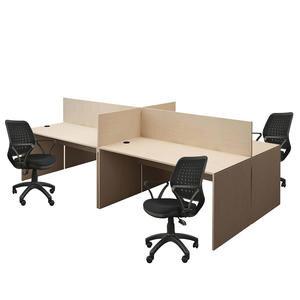 Avansas Comfort Dörtlü Workstation Çalışma Masa Grubu Akçaağaç (Masa+Çalışma Koltuğu)