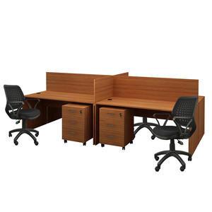 Avansas Comfort Dörtlü Workstation Çalışma Masa Grubu Teak (Masa+Çalışma Koltuğu+Keson)